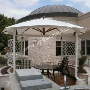 نصب سایبان چتری در حیاط ویلا