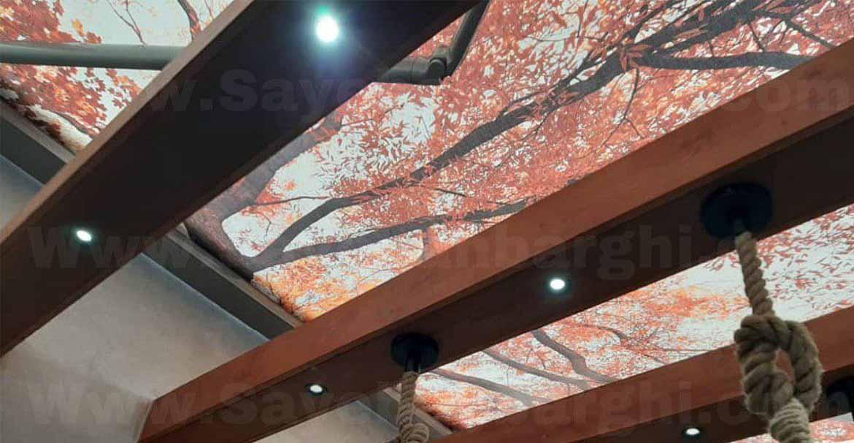 سایبان برقی فول باکس با طرح طبیعت-سایبان متین