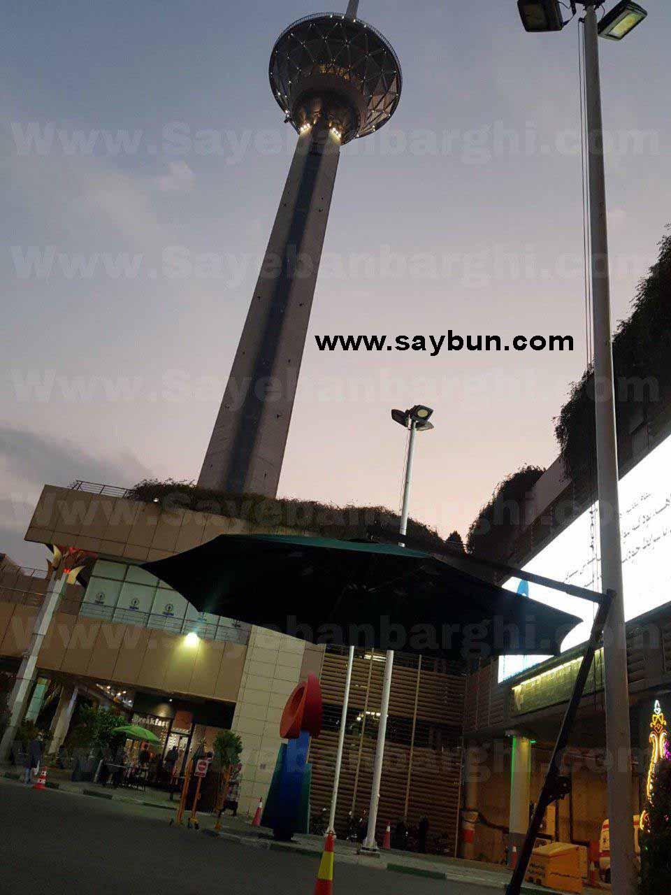 نصب سایبان چتری در محل نگهبانی - برج میلاد تهران سایبان متین